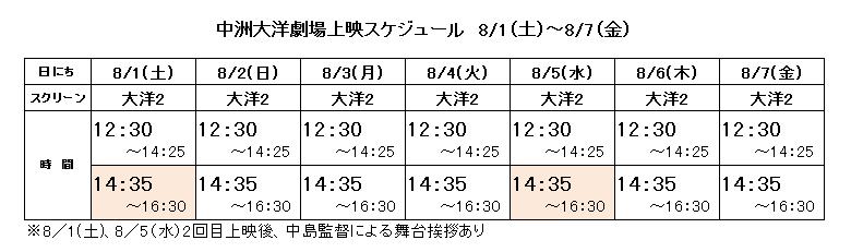 上映スケジュール_中洲大洋(8月1日~7日)